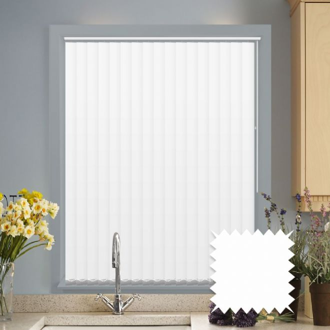 "Made to Measure White Vertical Blinds in PVC Blackout fabric - 5"" Black out blinds - Just Blinds"